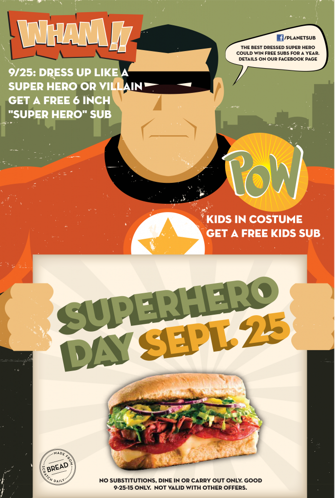 Super Hero Day is Sept. 25 at Planet Sub